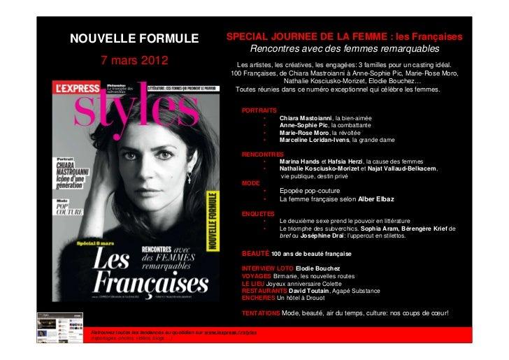 NOUVELLE FORMULE                                           SPECIAL JOURNEE DE LA FEMME : les Françaises                   ...