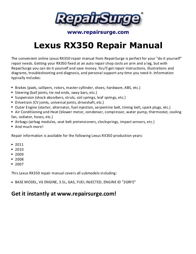 Lexus Rx350 Repair Manual 2007 2011