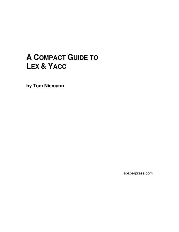 A COMPACT GUIDE TOLEX & YACCby Tom Niemann                     epaperpress.com