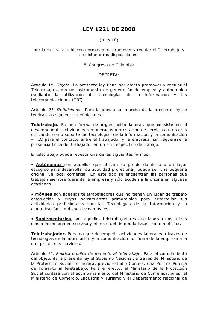 LEY 1221 DE 2008                                  (julio 16) por la cual se establecen normas para promover y regular el T...