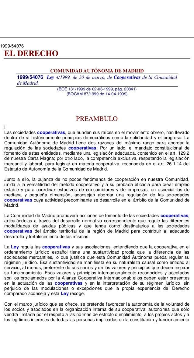 Ley cooperativas  comunidad madrid