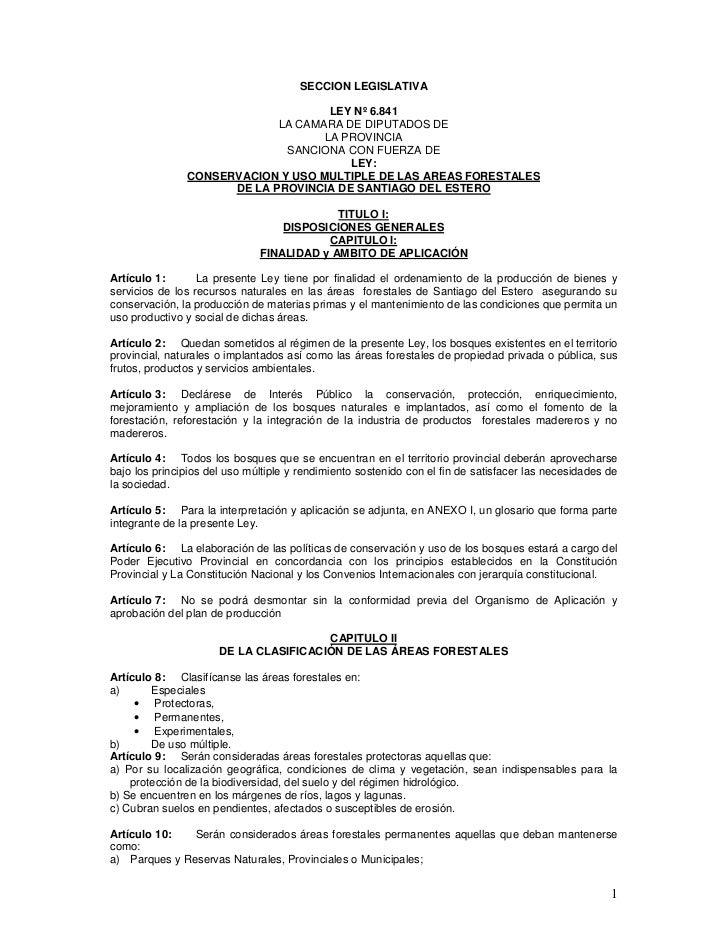 SECCION LEGISLATIVA                                    LEY Nº 6.841                            LA CAMARA DE DIPUTADOS DE  ...