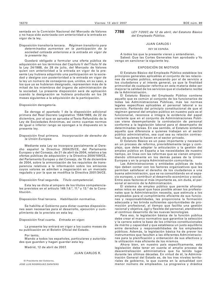 LEY 7/2007, de 12 de abril, del Estatuto Básico