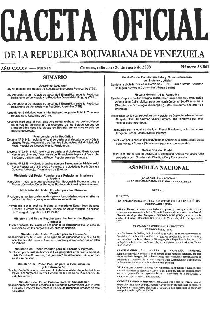 Ley Aprobatoria Del Tratado De Seguridad EnergéTica Petrocaribe