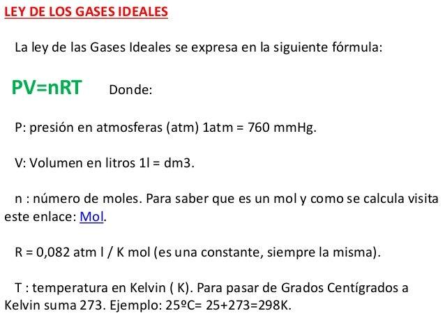 Ley de Los Gases Formulas Ley de Los Gases Ideales la