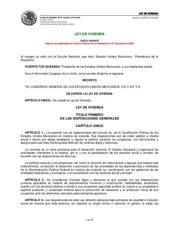 LEY DE VIVIENDA               Cámara de Diputados del H. Congreso de la Unión                                       Nueva ...