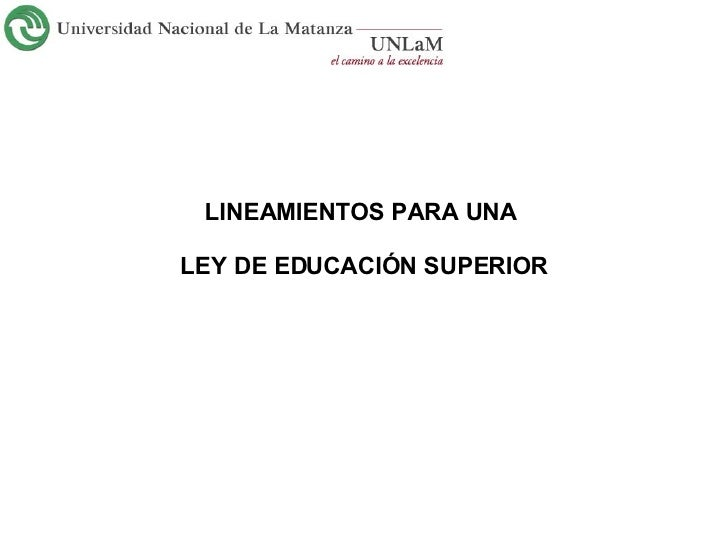 Lineamientos para una Ley de Educación Superior