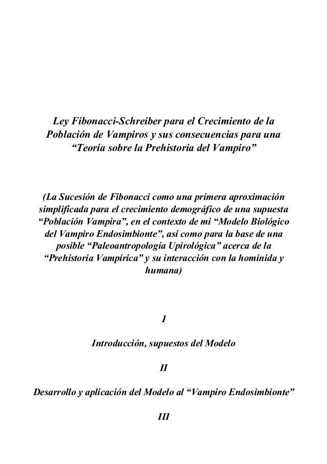 """Ley Fibonacci-Schreiber para el Crecimiento de la Población de Vampiros y sus consecuencias para una """"Teoría sobre la Preh..."""