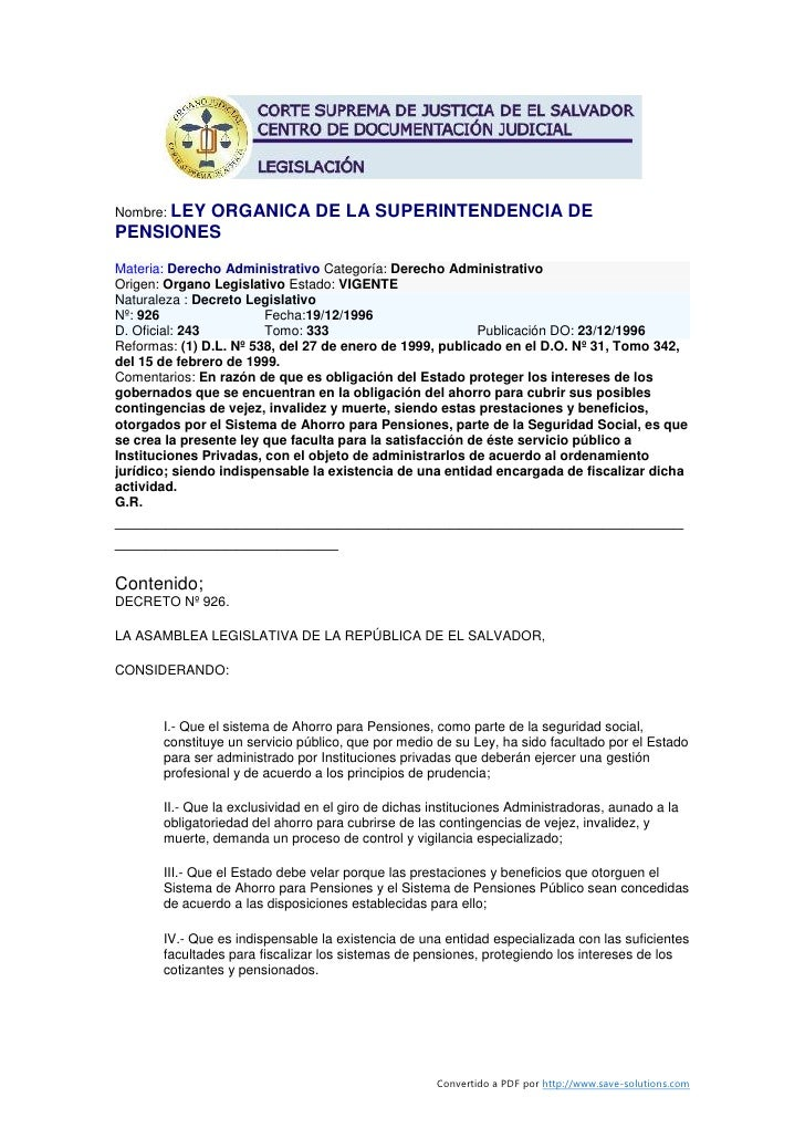 Ley organica-de-la-superintendencia-de-pensiones