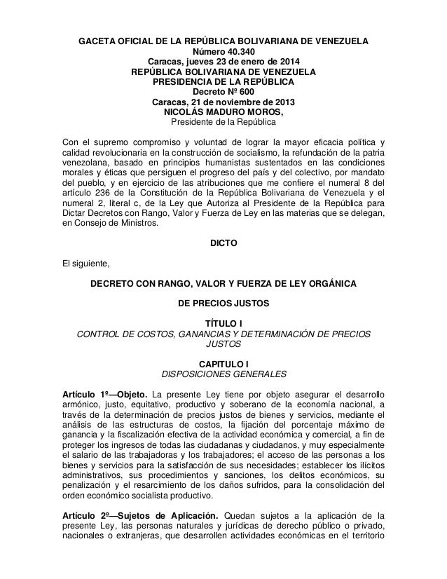GACETA OFICIAL DE LA REPÚBLICA BOLIVARIANA DE VENEZUELA Número 40.340 Caracas, jueves 23 de enero de 2014 REPÚBLICA BOLIVA...