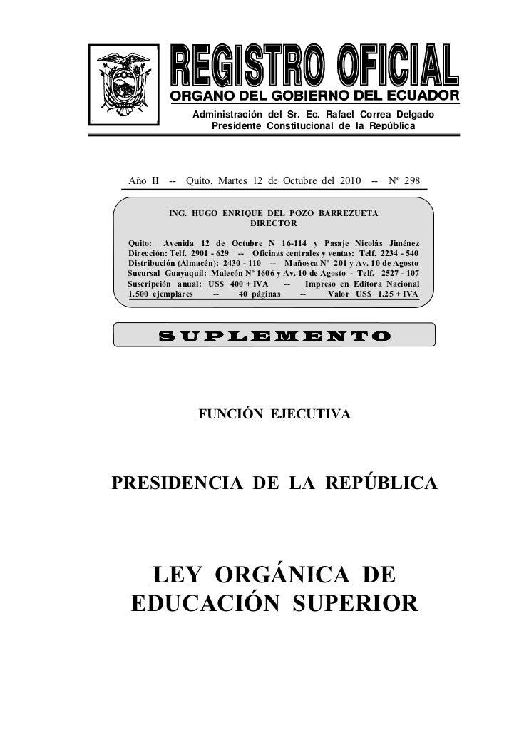 Administración del Sr. Ec. Rafael Correa Delgado                    Presidente Constitucional de la República Año II -- Qu...