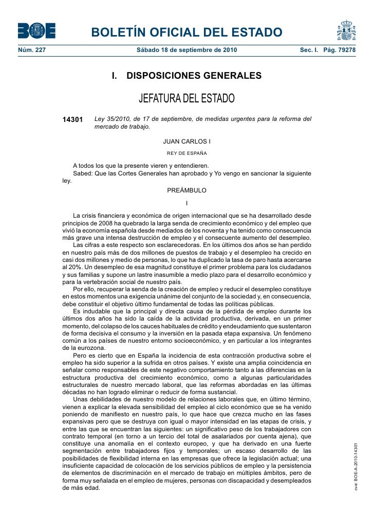 BOLETÍN OFICIAL DEL ESTADONúm. 227                               Sábado 18 de septiembre de 2010                          ...
