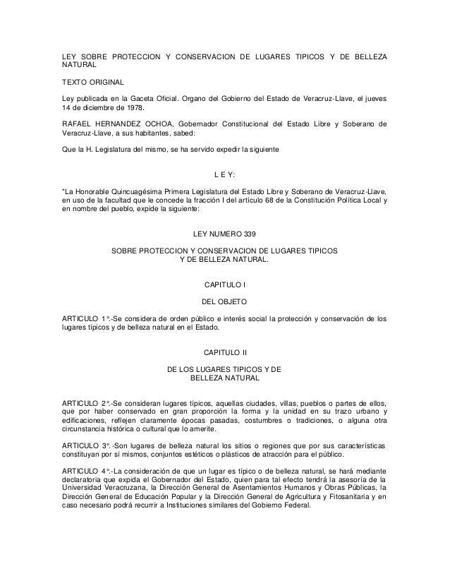 LEY SOBRE PROTECCION Y CONSERVACION DE LUGARES TIPICOS Y DE BELLEZA NATURAL TEXTO ORIGINAL Ley publicada en la Gaceta Ofic...