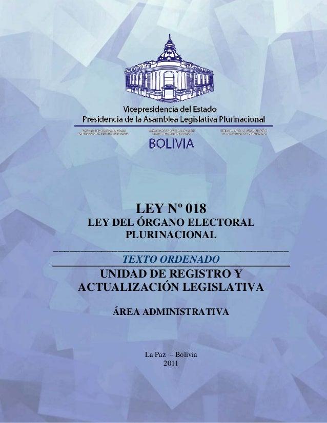 Ley018 Organo Electoral