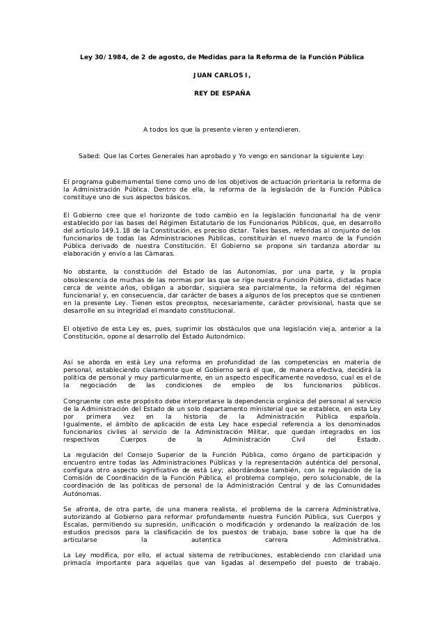 ley de medidas para la reforma de la funcion publica: