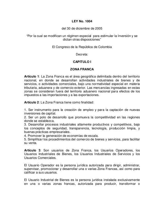 """LEY No. 1004 del 30 de diciembre de 2005 """"Por la cual se modifican un régimen especial para estimular la Inversión y se di..."""