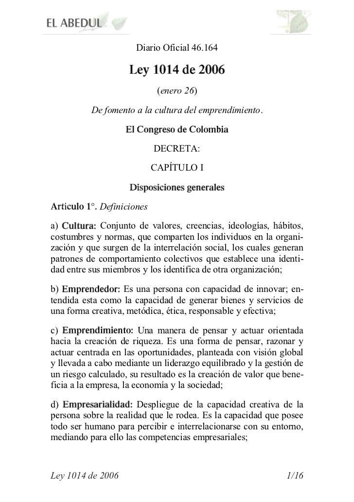 Diario Oficial 46.164                            (enero 26)          De fomento a la cultura del emprendimiento.          ...
