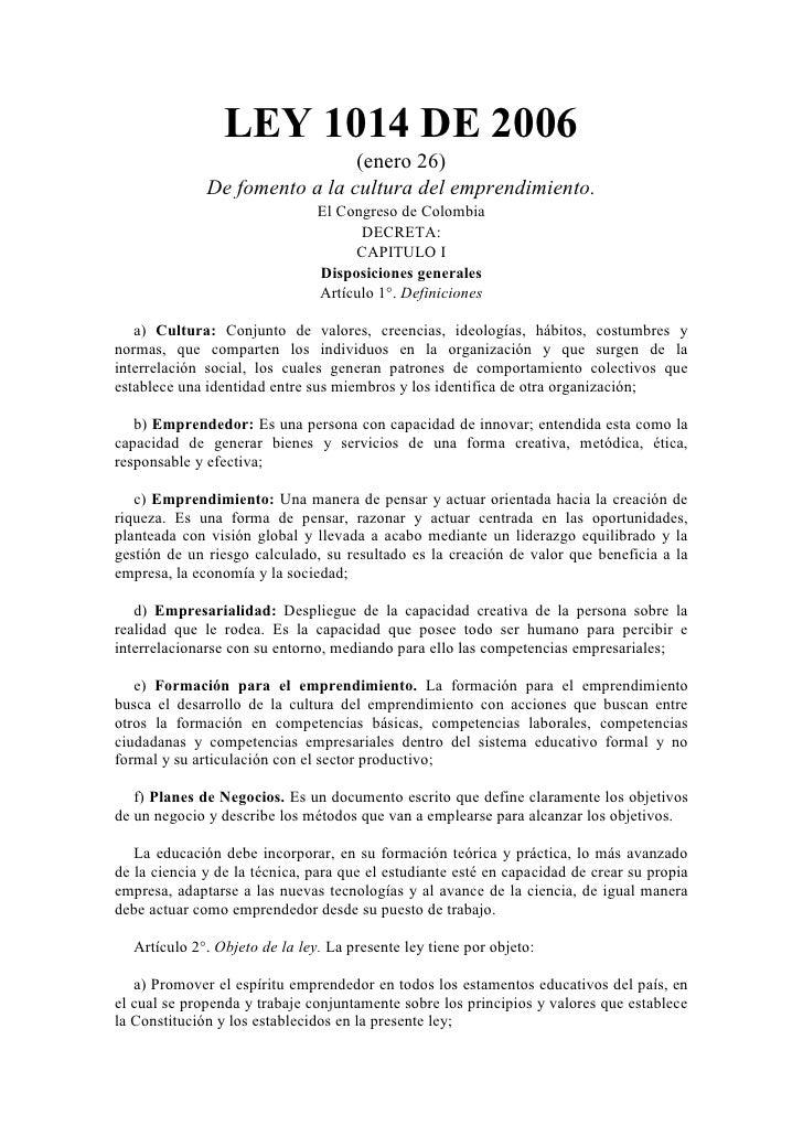 Ley 1014 De 2006 Emprenderismo