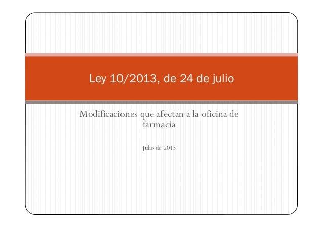Modificaciones que afectan a la oficina de farmacia Julio de 2013 Ley 10/2013, de 24 de julio