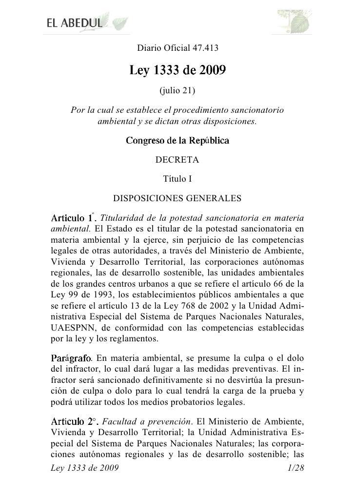 Ley 1333 de 2009. - Nuevo Régimen Sancionatorio Ambiental.