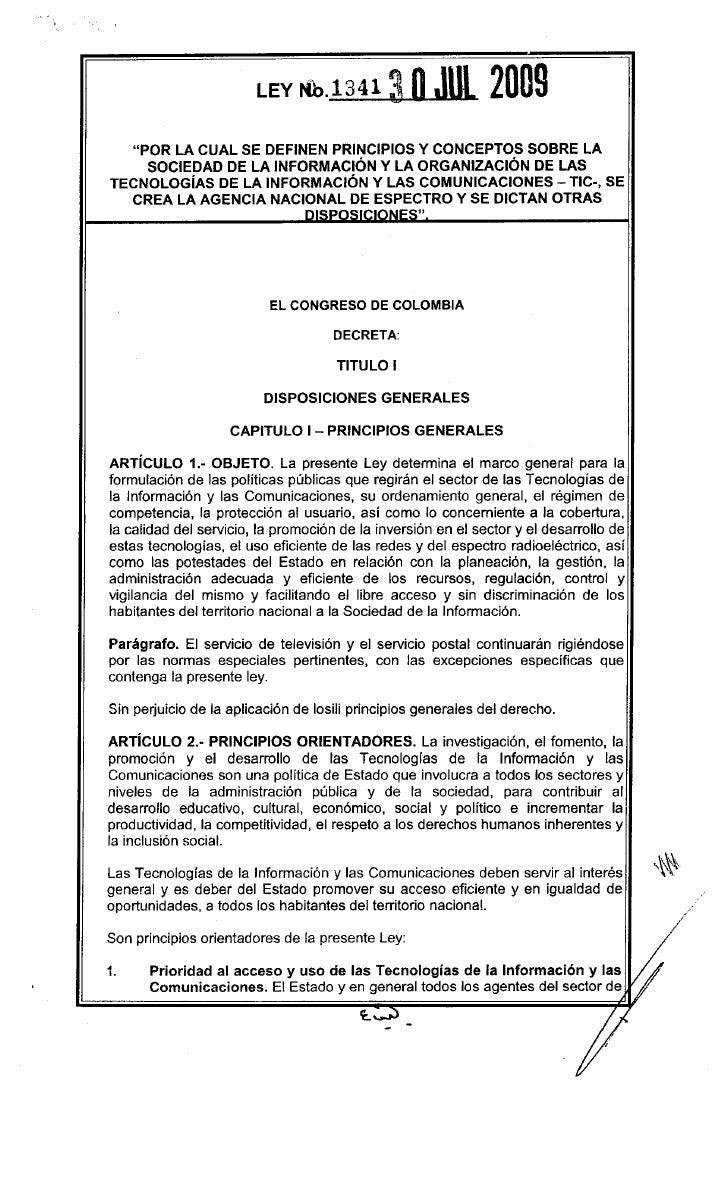 """LEY    Nh.1341 ~                       2009    """"POR LA CUAL SE DEFINEN PRINCIPIOS Y CONCEPTOS SOBRE LA      SOCIEDAD DE LA..."""