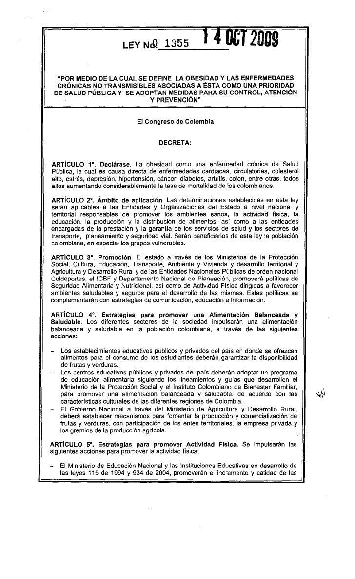 Ley1355 de 2009 define obesidad y enf cronicas no transmisibles
