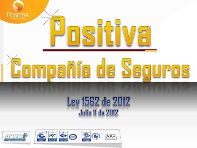 LEY 1562 DE 2012Cambios en la denominación.Sistema general de riesgos laborales (Antes era Profesionales)Salud Ocupacional...
