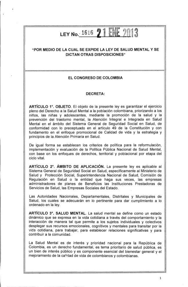 """""""POR MEDIO DE lA CUAL SE EXPIDE lA lEY DE SALUD MENTAL Y SEDICTAN OTRAS DISPOSICIONES""""IEl CONGRESO DE COLOMBIADECRETA:ARTí..."""