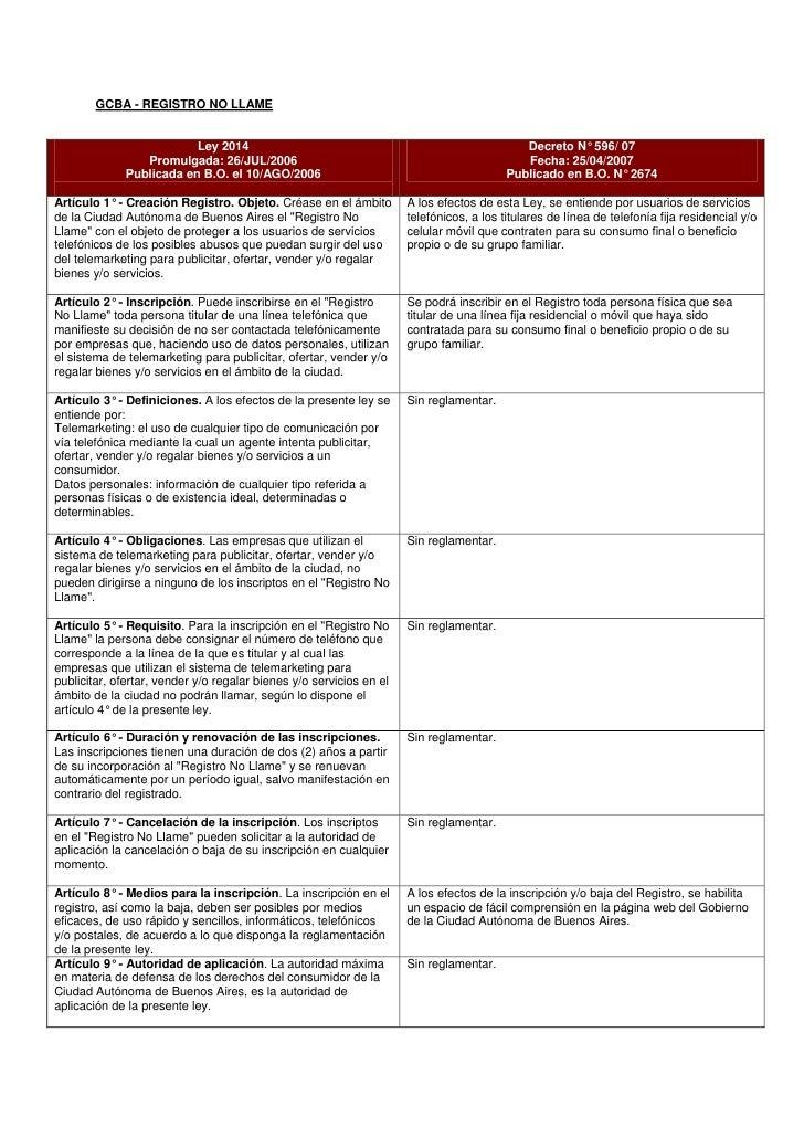 GCBA - REGISTRO NO LLAME                             Ley 2014                                                          Dec...