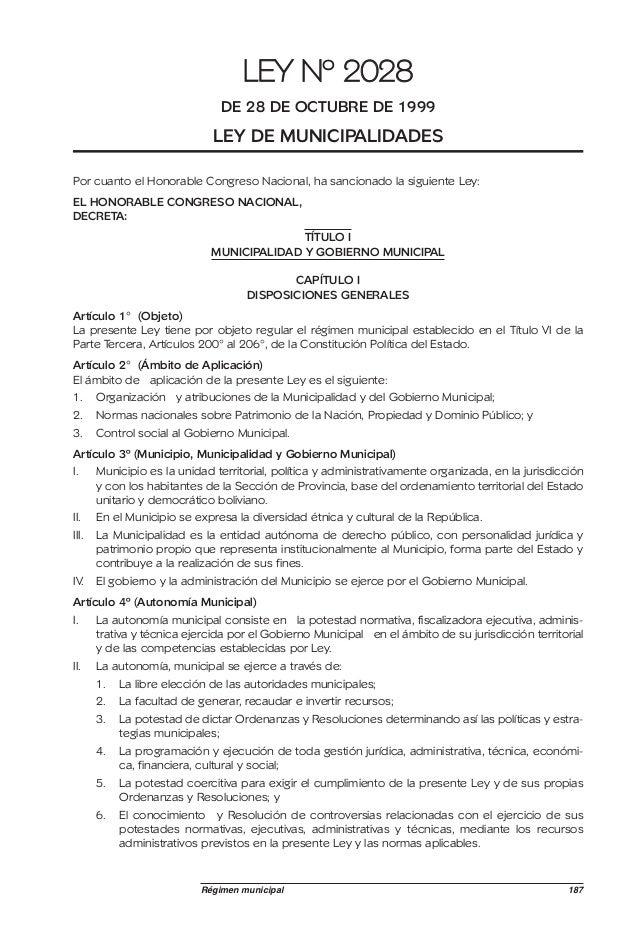 LEY Nº 2028                               DE 28 DE OCTUBRE DE 1999                              LEY DE MUNICIPALIDADESPor ...