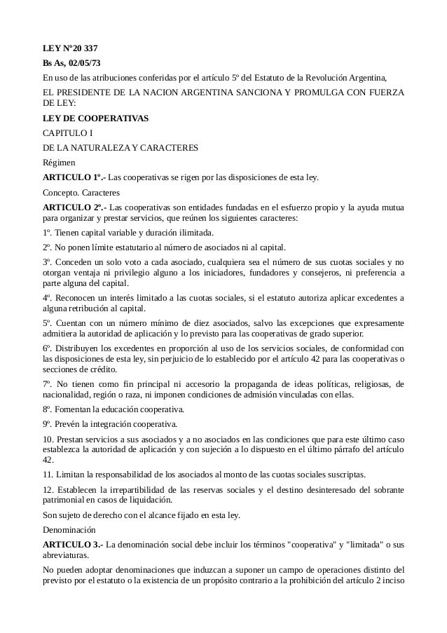 Ley 20.337 Cooperativas de la República Argentina