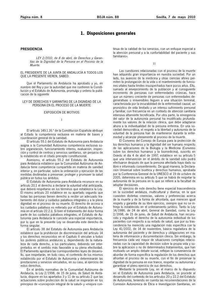 Ley 2 2010 muerte digna de Andalucia