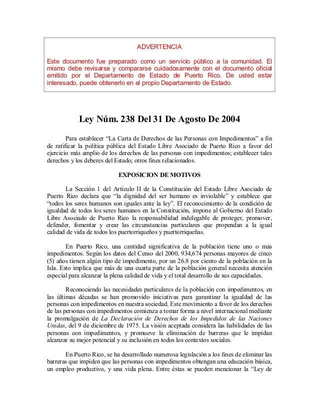Ley238 lacartadederechosde laspersonascon impedimentos