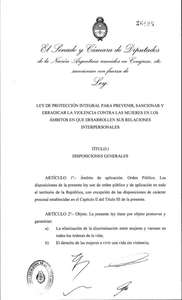 Ley 26485 de proteccion integral para prevenir y erradicar la violencia contra la mujer