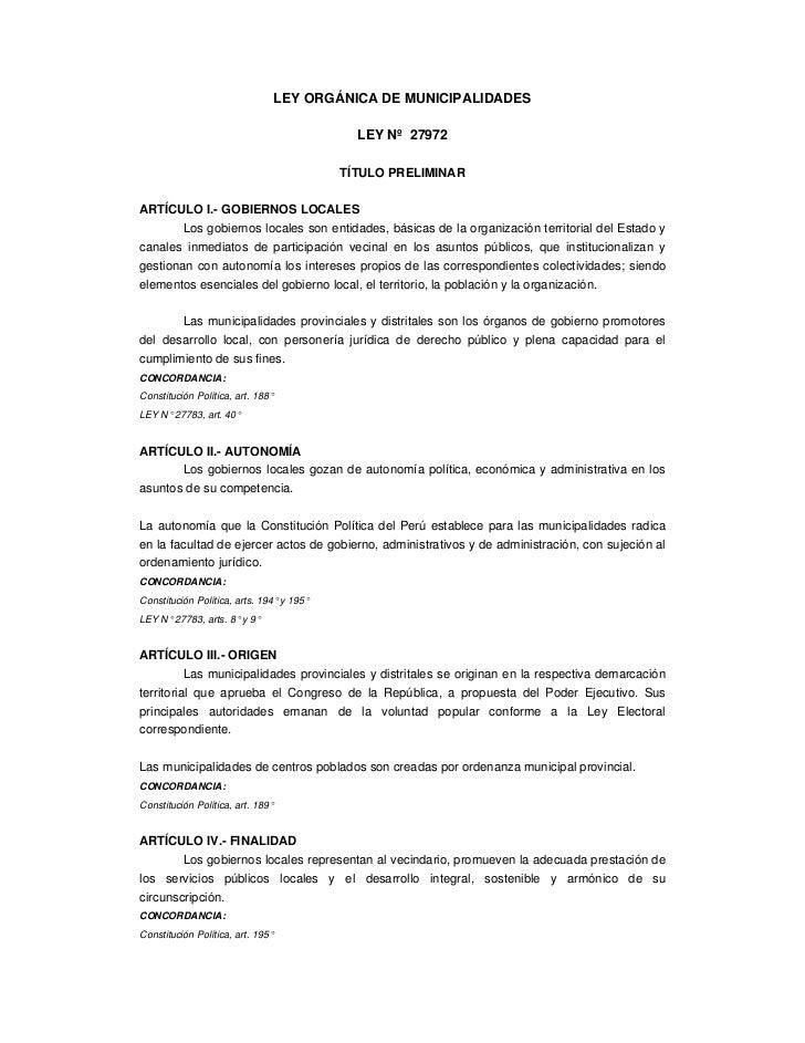 LEY ORGÁNICA DE MUNICIPALIDADES                                             LEY Nº 27972                                  ...