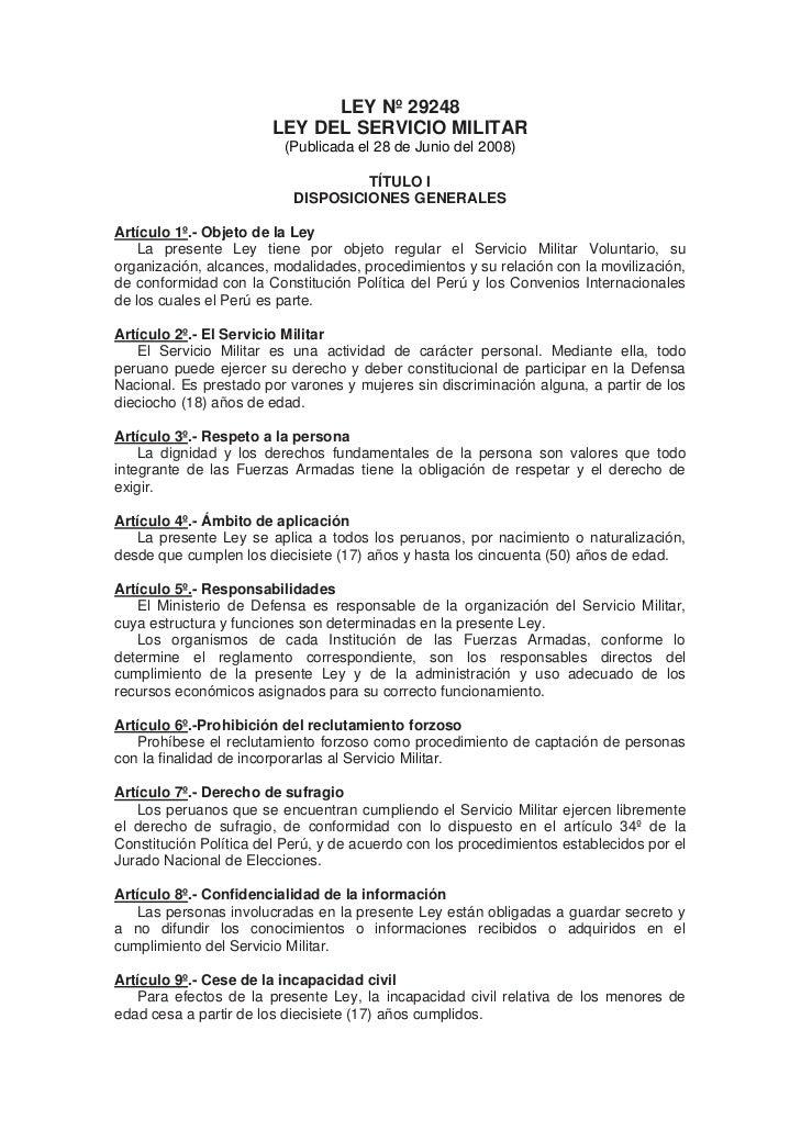 LEY Nº 29248                         LEY DEL SERVICIO MILITAR                          (Publicada el 28 de Junio del 2008)...