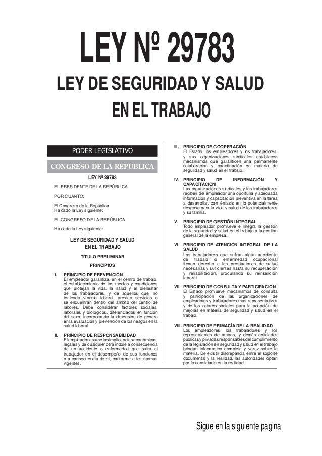 Ley 29783 peru