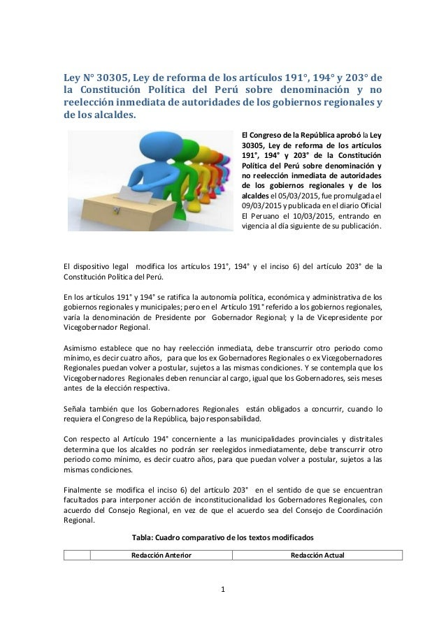 1 Ley N° 30305, Ley de reforma de los artículos 191°, 194° y 203° de la Constitución Política del Perú sobre denominación ...