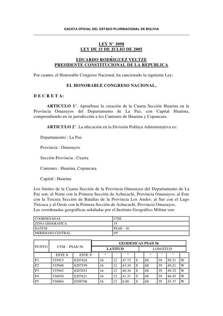 GACETA OFICIAL DEL ESTADO PLURINACIONAL DE BOLIVIA                                   LEY N° 3098                          ...