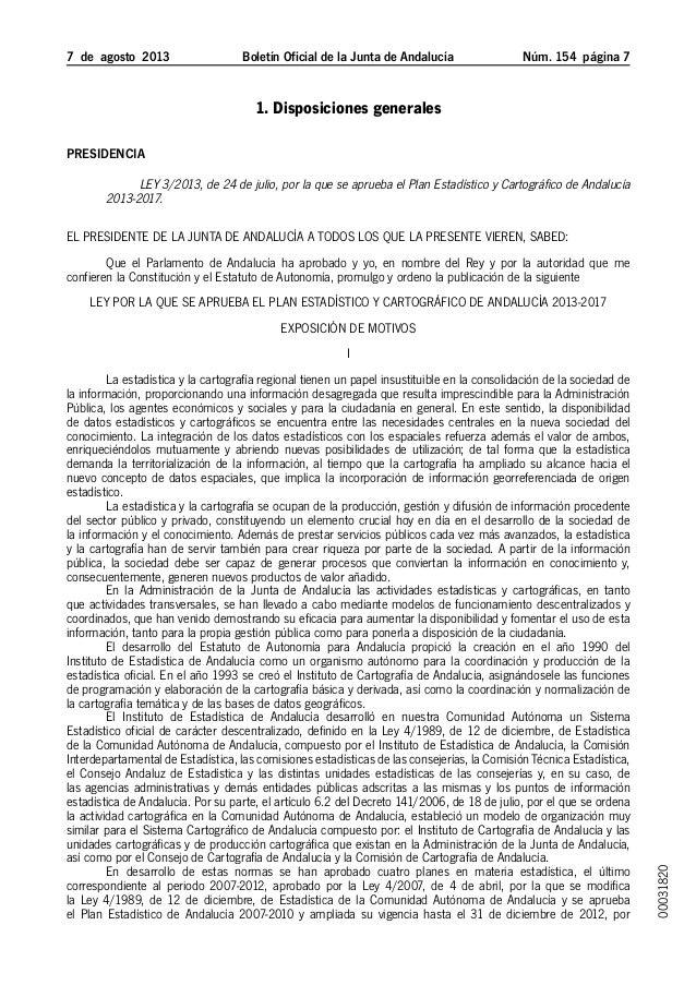 7 de agosto 2013 Boletín Oficial de la Junta de Andalucía Núm. 154  página  1. Disposiciones generales Presidencia Ley...