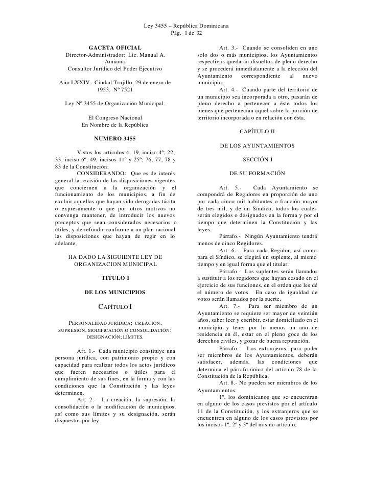Ley 3455 – República Dominicana                                                Pág. 1 de 32             GACETA OFICIAL    ...