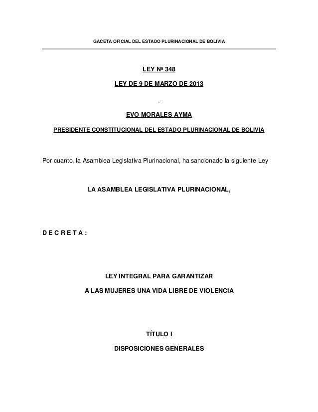 Ley 348 contra la violencia hacia las mujeres Bolivia