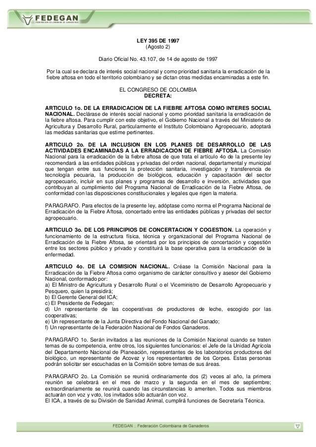 Fedegan_Animal_Ganadero_Normatividad_Ley_395_1997_Erradicacion_Fiebre_Aftosa