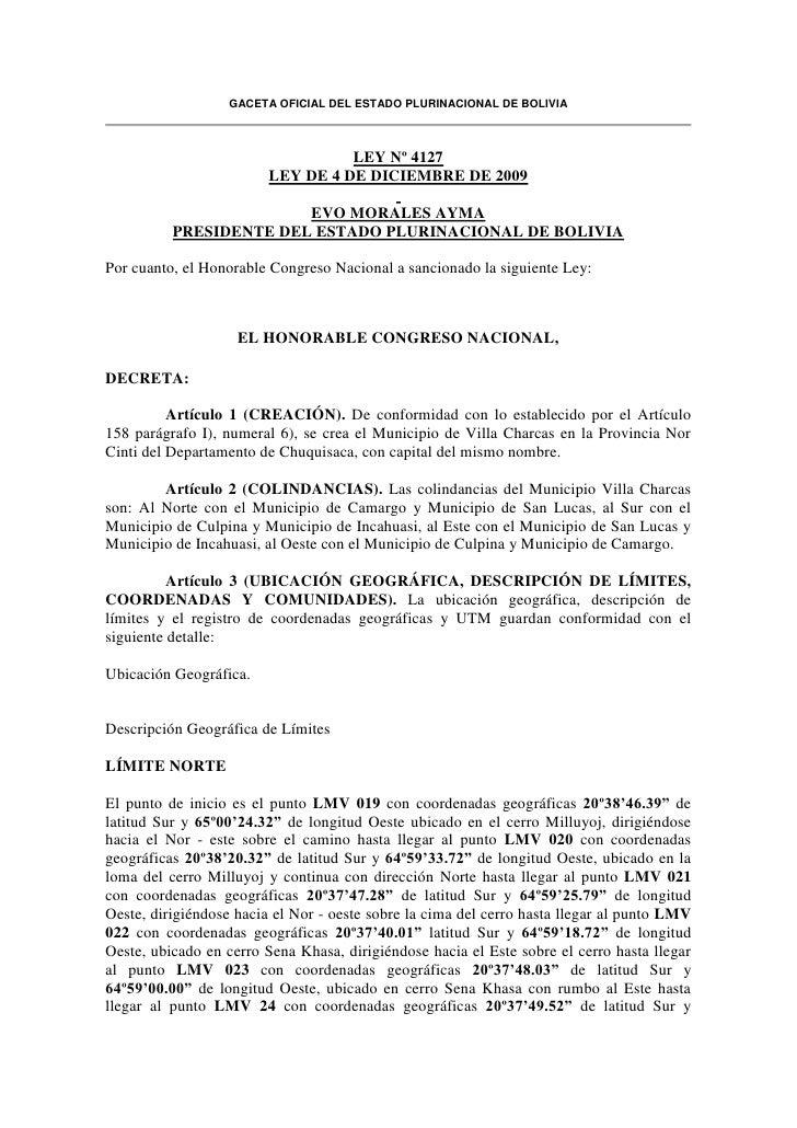 Ley 4127 creación Villa Charcas