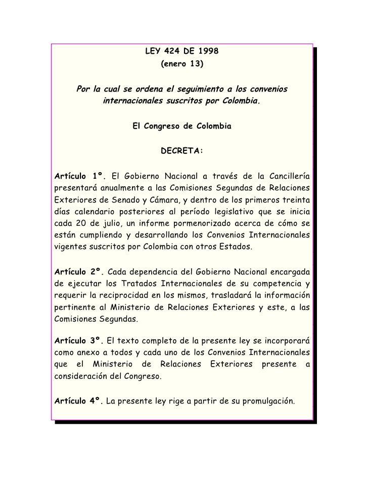 Ley 424 de 1998