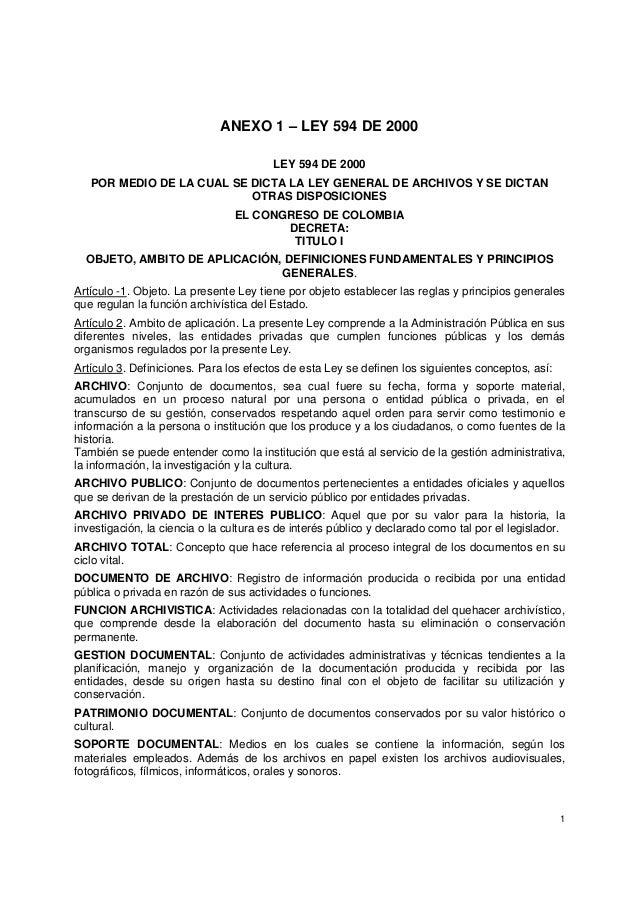 1 ANEXO 1 – LEY 594 DE 2000 LEY 594 DE 2000 POR MEDIO DE LA CUAL SE DICTA LA LEY GENERAL DE ARCHIVOS Y SE DICTAN OTRAS DIS...