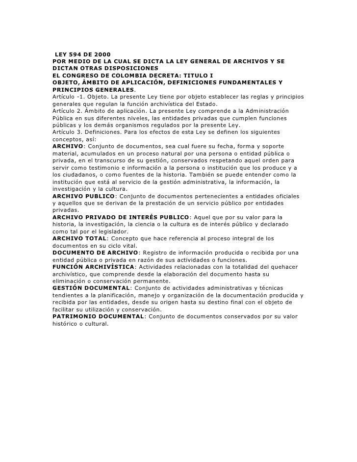 Ley 594 del 2012