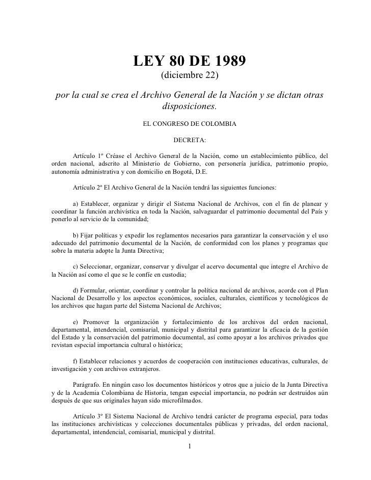 Ley 80 de 1989