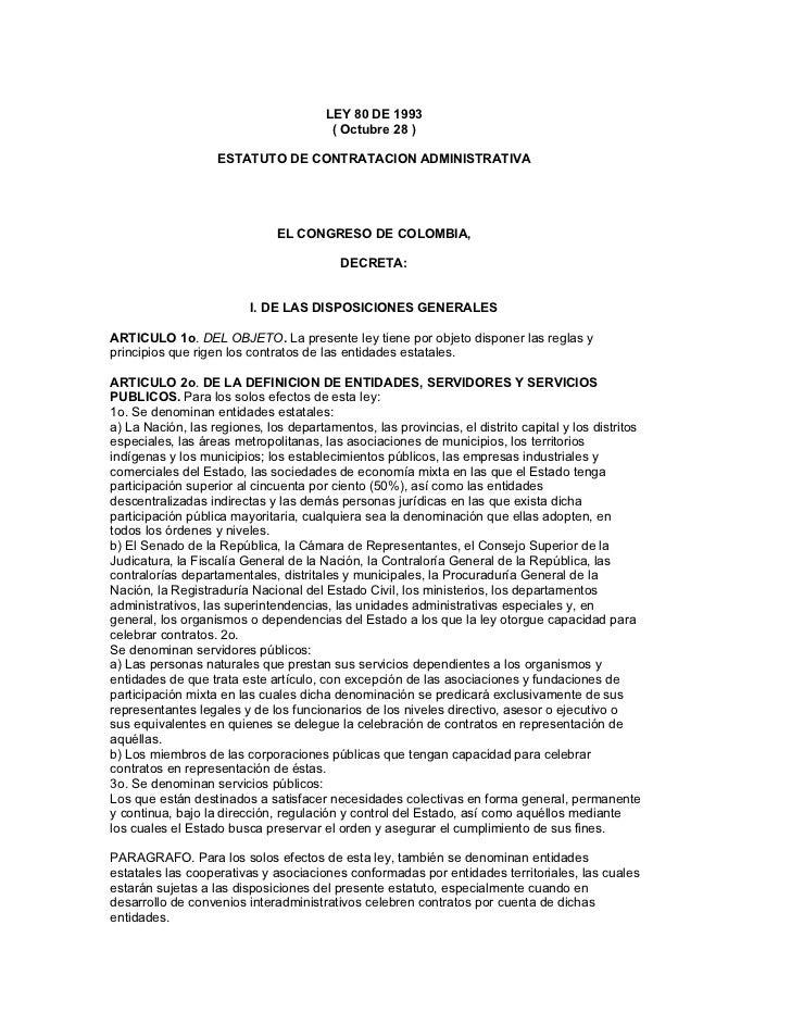 Ley 80 de 1993   contratación pública