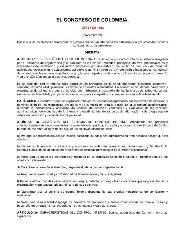 Ley 87 1993 control interno entidad estatal